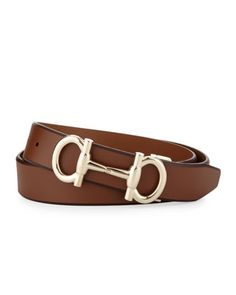 Gancini-Bit Leather Belt, Tan by Salvatore Ferragamo at Bergdorf Goodman.  Cintos, 046c67c629