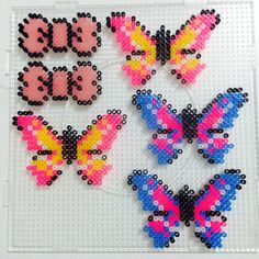 Butterflies and bows perler beads Pony Bead Patterns, Pearler Bead Patterns, Beading Patterns Free, Perler Patterns, Perler Bead Templates, Hama Beads Design, Peler Beads, Iron Beads, Melting Beads