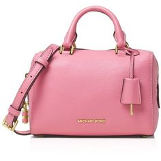 Michael Michael Kors Extra Small Kirby Satchel ($260) ❤ liked on Polyvore featuring bags, handbags, strap purse, pink handbags, bowling bag, satchel handbags and bowler handbags
