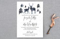 """Winter Deer"" - Rustic, Destination Wedding Invitations in Ice Mist by Cass Loh."