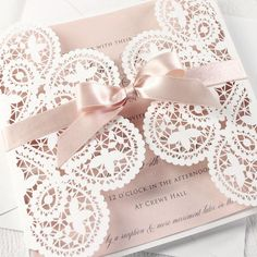 Romantic blush pink laser cut wedding invitation with pink silk ribbon bow, spring wedding ideas, DIY wedding invitation embellishments, rustic weddings Quince Invitations, Laser Cut Wedding Invitations, Diy Invitations, Wedding Invitation Cards, Birthday Invitations, Wedding Cards, Diy Wedding, Dream Wedding, Spring Wedding