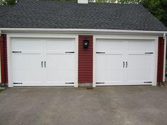 Cambridge Series Wood Composite Carriage House Garage Doors 2 Panel Design White Finish