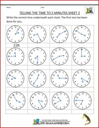 Telling Time Sheets - To 5 Minutes Sheet 2