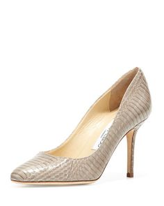 Gilbert+Snakeskin+Almond-Toe+Pump+by+Jimmy+Choo+at+Bergdorf+Goodman.