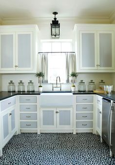 cabinet curtain pinterest | cabinet doors, black countertops, gray cafe curtains, cafe curtains ...