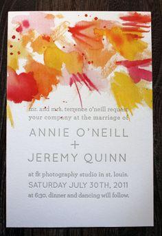 Watercolor/Letterpress wedding invite by printerette press.