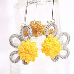 Yellow grey rococo inspired dangle earrings  by BrandlessBerta, €28.20