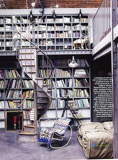 Library with Spiral Staircase