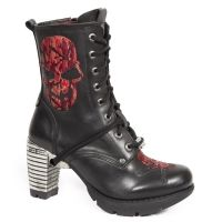 New Rock Boots Black Leather Boots with Red Skulls, 079 Boots Stack Heel