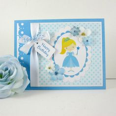 Princess Birthday card, personalized, Happy Birthday blue, girl kids children