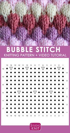 Adorbs! Bubble Knit Stitch Pattern Chart with Video Tutorial by Studio Knit. #StudioKnit #knitstitchpattern #KnittingStitches