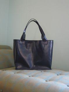 square navy leather tote bag by zerkahloostrah on Etsy, $105,00