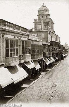 Calle Mantas  y el Mirador de Castañeda (Actual cuadra 1 del Jr. Callao). Rafael Castro y Ordoñez, 1863