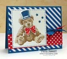 Thinking ahead to the 4th of July, I thought I'd share my version of a patriotic Stampin' Up! Baby Bear Card with you! I dressed up Baby Bear with a top hat from the Snow Place stamp set and matchi
