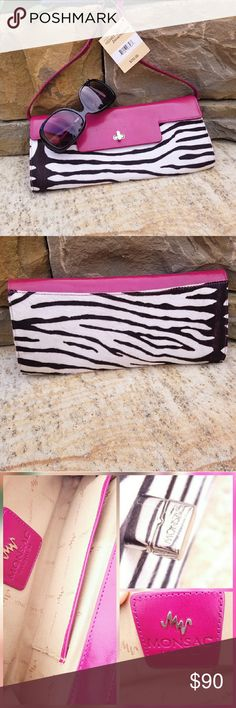 NWT Zebra Monsac Clutch Beautiful Monsac clutch in zebra print with magenta leather flap and strap.  NWT and Certificate of Authority. Bags Clutches & Wristlets