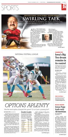 News design: Cam Newton illustration for Nov. 4 Des Moines sports cover.