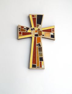 """Mosaic Wall Cross, Large, Shades of Brown + Gold Mirror, Handmade Stained Glass Mosaic Cross Wall Decor, 15"""" x 10"""" by GreenBananaMosaicCo on Etsy"""