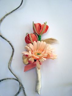 Peach Coral Wedding Boutonniere by TwiningVines on Etsy, $12.00