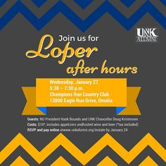 Join #UNKAlumni in Omaha on January 27 from 5:30 - 7:30 p.m. for a Loper After Hours!