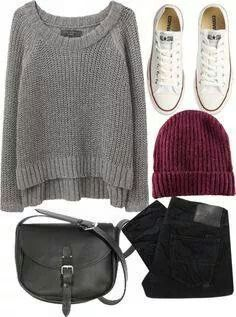 25+ beautiful winter outfits with Converse #Converse #winter #outfit #college