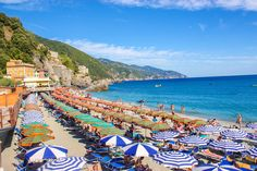 The beach at Monterosso al Mare. Ready to take a swim? Read for travel tips in Cinque Terre, Italy! Cinque Terre, North Coast, Landscape Pictures, Space Travel, Best Places To Travel, Amalfi Coast, San Francisco Skyline, The Good Place, Dolores Park