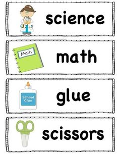 School words perfect for the pocket chart, word wall or writing center. Check out my store for more FREE words.Print on card stock and laminate for durability! Classroom Labels, Classroom Organisation, Teacher Organization, Organized Teacher, Classroom Ideas, Vocabulary Word Walls, Vocabulary Cards, School Resources, Teacher Resources
