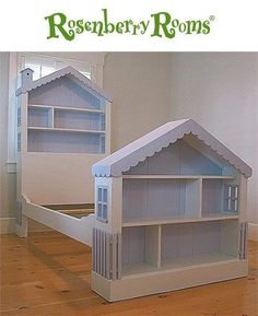 A dollhouse bed? I would've LOVED this as a little girl! #buildachildrensplayhouse