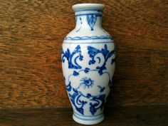 Vintage Blue and White Small Bud Vase by EnglishShop on Etsy, $49.00