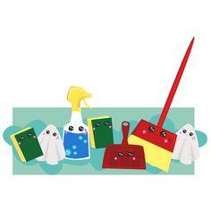 Cleaning  Kawaii sticker http://www.redbubble.com/people/hollyddesigns/works/21296171-good-clean-kawaii?p=sticker