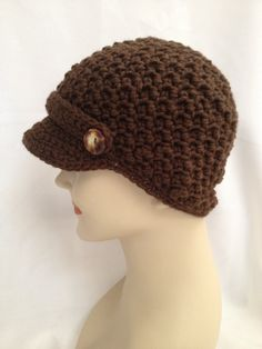 Crochet Beanie  Nubby Newsboy with Buttoned by NydiaFierroDesigns, $22.00