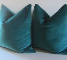 Set of Two - Teal Pillows - Decorative Pillow Cover - 20 inch - teal velvet - cotton velvet - made to order. $80.00, via Etsy.