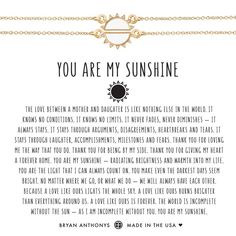 You Are My Sunshine Necklace - Bryan Anthonys you are my sunshine mother daughter necklace set gold -
