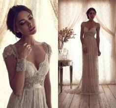 Alta calidad 2014 Vintage Wedding Dresses pura Anna Campbell encaje vestidos de novia de encaje sin espalda boda de la iglesia encargo CH-753