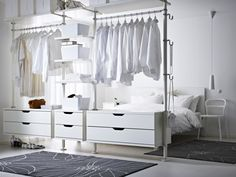 A stylish multi-tasker, STOLMEN acts as clothing storage and room divider in one.