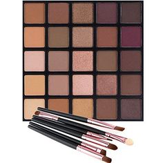 Best Makeup Brush Set | Matte and Shimmer Eyeshadow Palette Vodisa 25 Smoky Warm Color Eye Shadows Glitter Makeup Kit Make Up Brushes Set Nature Nude Earth Tone Waterproof Beauty Cosmetics High Pigment Powder Pallet 25B >>> Read more  at the image link.(It is Amazon affiliate link) #followbackteam