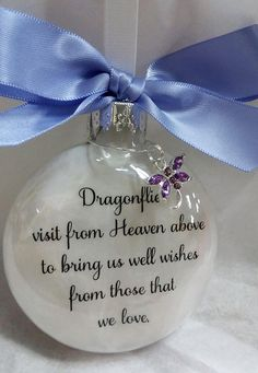 Memorial Gift for Loss of Loved One Memory Sympathy Gift Keepsake Memorial Ornament Dragonflies from Heaven Bereavement Gift Lavender Bow Clear Ornaments, Glitter Ornaments, Diy Christmas Ornaments, Christmas Balls, Christmas Decorations, Memorial Ornaments, Memorial Gifts, Memory Crafts, Bereavement Gift