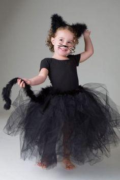 Faschingskostüme Kinder schwarze katze tüllstoff