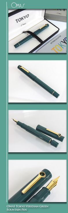 OMAS Tokyo Veridian Green Fountain Pen by Ettore Sottsass (resin body, gold-plated trim and nib) - 1999 / Italy
