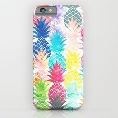 Hawaiian Pineapple Pattern Tropical Watercolor iPhone & iPod Case