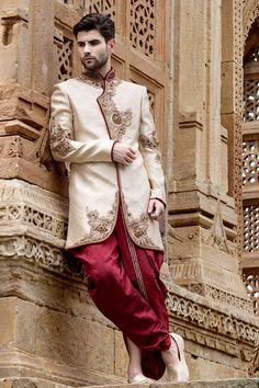 Off #white & #gold with #maroon banarasi brocade silk resplendent jodhpuri…