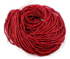 "10 Strands Red Coral Glass Seed Beads Gemstone Rondelle 2-2.5mm 12.5"" long. #luctsa #Smooth"