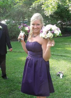Purple bridesmaid dress.  Love.... her.