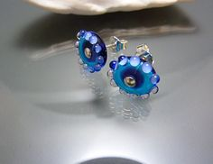 Stud Earrings in Blue, Handmade Glass Studs, Cute Earrings with Sterling Silver, SRA, OOAK