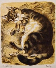 By Eileen Mayo (1906-1994), Cat in the sun.