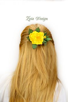 Yellow rose hair clip, bridal hairclip, hair barette, hairclip rose, hair clip flowers, bobby pin flower, wedding barrette, bridal headpiece von ZoiaDesign auf Etsy