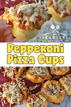 Pepperoni Pizza Cups from My Fearless Kitchen. Do you want pizza, but hate waiting for the pizza delivery guy to get here? These Pepperoni Pizza Cups cook up faster than your delivery guy can drive! Make these for a fast weeknight meal anytime you have that pizza craving. #pizzarecipes #pepperoni #easyrecipes