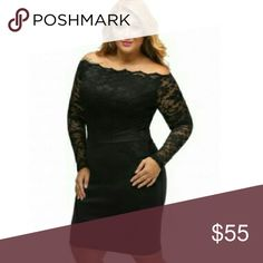 [Plus] ❤ Cocktail Party Lace LBD Dress 95% poly 5% spandex. Off the shoulder. Raised waist gives the illusion of a smaller waist. Can be worn on different occasions.  Please allow an additional 3 days for mailing  1X = 14/16 2X = 18/20 3X = 22/24 Boutique Dresses Long Sleeve
