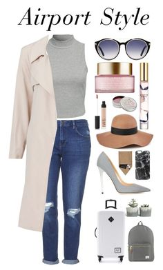 """Kylie Jenner inspired airport outfit x"" by thedk ❤ liked on Polyvore featuring Glamorous, Topshop, Jimmy Choo, Tom Ford, Herschel Supply Co., Reiss, Casetify, STOW, Clarins and Estée Lauder"