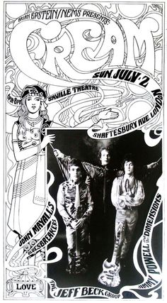The famous band Cream concert poster. Much of the music revolved around psychedelic art and recreational drugs. Rock Posters, Band Posters, Music Posters, The Cream, Vintage Rock, Vintage Music, Norman Rockwell, Psychedelic Art, Monet