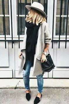 #Winter #Outfits / Black Oversized Knit Scarf - Ripped Jeans